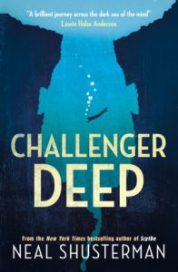 Cover of the book Challenger Deep by Neal Shusterman featuring the outline of an upside down head. The head is filled with the ocean and there is a lone scuba diver descending down into the deep. Image is to accompany the book review on the same page.