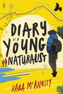 Image is of the cover of the book Diary of a Young Naturalist by Dara McAnulty. Cover features a young boy walking along the beach with his backpack on and a bird soaring overhead. Image is to accompany the book review on the same page.