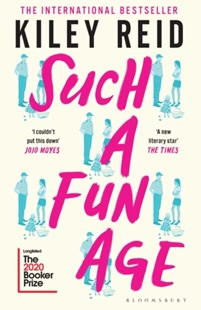 Cover of the book Such a Fun Age by Kiley Reid featuring multiple images of the same picture of a girl talking to a security guard with a small child at their feet. Image is to accompany book review on the same page.