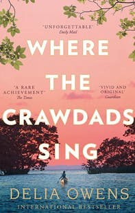 Image of the cover of the book Where the Crawdads sing by Delia Owens featuring a girl in a canoe paddling out to sea with a pink sky in the distance. Image is to accompany the book review on the same page.